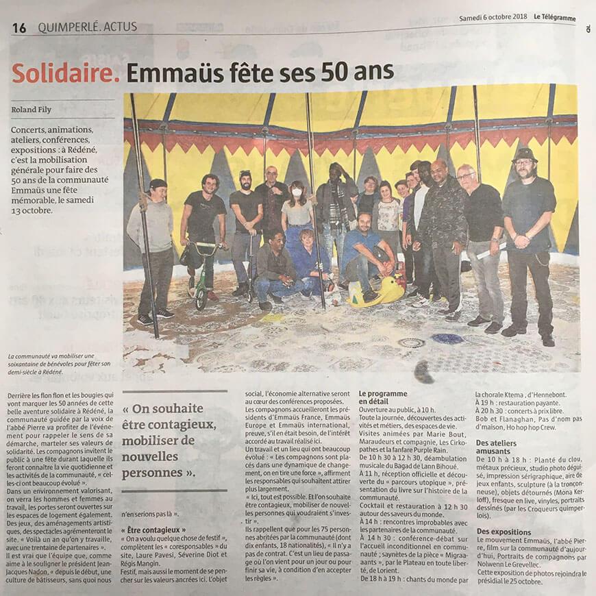50e Anniversaire d'Emmaüs Rédéné par 7g7mm