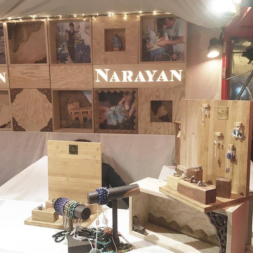 Agencement éco-responsable de la boutique éphémère des bijoux Narayan par Menu Détail
